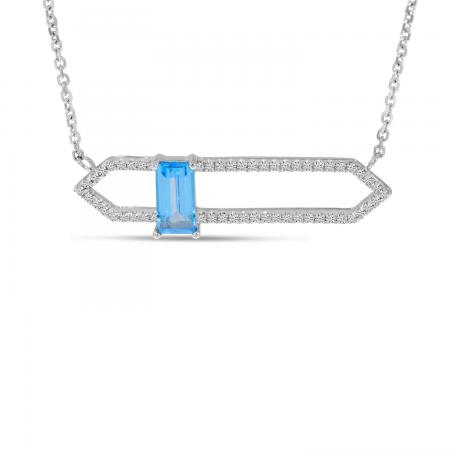 14K White Gold North 2 South Blue Topaz & Diamond Open Necklace