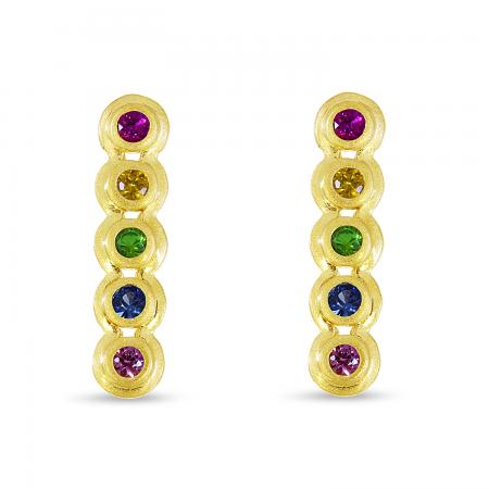 14K Yellow Gold Bezel Rainbow Sapphire Bar Earrings