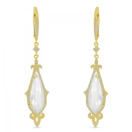 14K Yellow Gold White Topaz Pear Ornate Diamond Halo Earrings