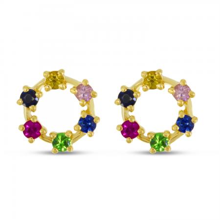 14K Yellow Gold Rainbow Sapphire Circle Stud Earrings