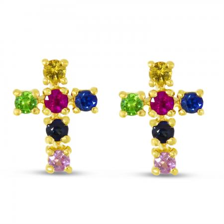14K Yellow Gold Rainbow Sapphire Cross Stud Earrings