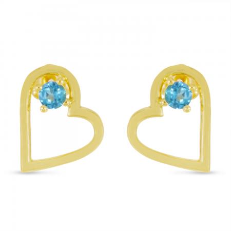 14K Yellow Gold Blue Topaz Open Heart Birthstone Earrings