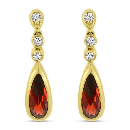 14K Yellow Gold Garnet Teardrop Diamond Earrings