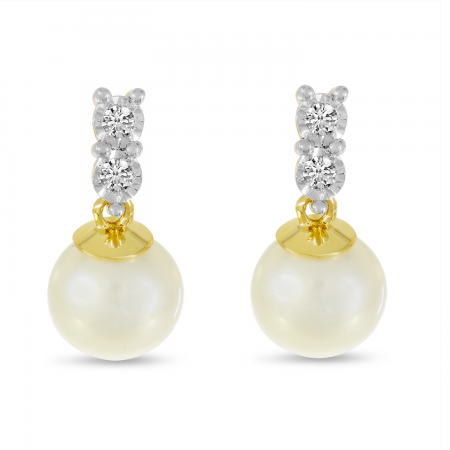 14K Yellow Gold Two Diamond & Pearl Earrings