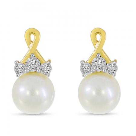 14K Yellow Gold Crossover Diamond & Pearl Earrings