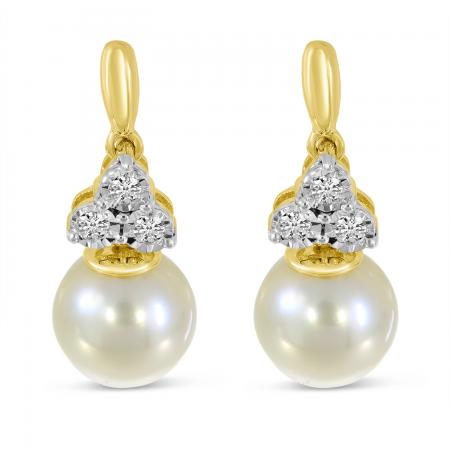 14K Yellow Gold Diamond Triangle & Pearl Earrings