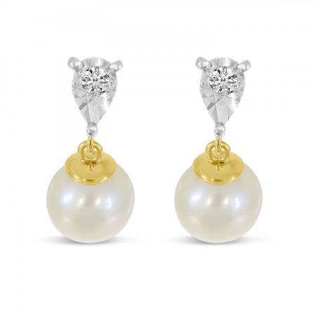 14K Yellow Gold Illusion Diamond & Pearl Drop Earrings