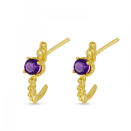 14K Yellow Gold Amethyst Beaded Birthstone Huggie Earrings
