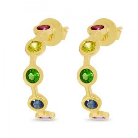 14K Yellow Gold Rainbow Sapphire Bezel Huggie Earrings