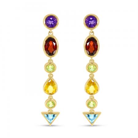 14K Yellow Gold Multi Semi-Precious Shapes Drop Earrings