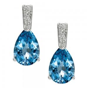 14K White Gold Pear Blue Topaz and Diamond Semi Precious Earrings