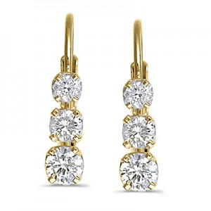 14k Yellow Gold 0.50 Ct Three Stone Lever-back Diamond Earrings