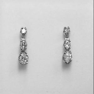 14k White Gold Three Stone Diamond Studs