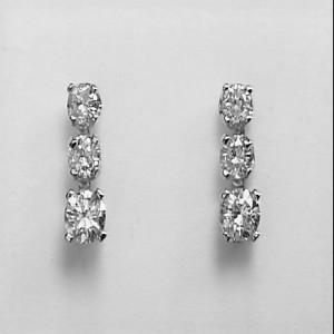 14k White Gold Three Stone Diamond Earrings