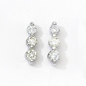 14k Yellow Gold Three Stone Diamond Earrings