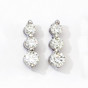 14K White Gold 1 Ct Three Stone Diamond Earrings