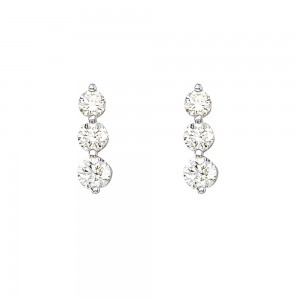 14K White Gold 1.5 Ct Three Stone Diamond Earrings