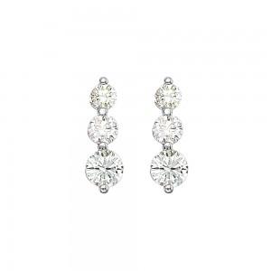 14K White Gold 2 Ct Three Stone Diamond Earrings