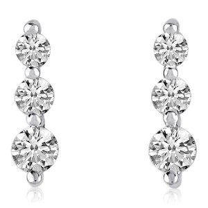 14K White Gold Graduated Three Stone 1 Ct Diamond Earrings