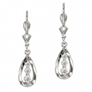 14k White Gold Diamond Three Stone Tear Drop Earring