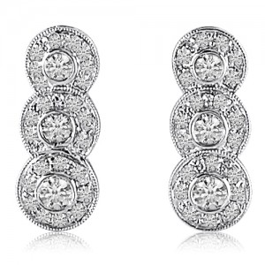 14K White Gold Three Stone Fancy Diamond Fashion Earrings