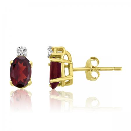 14K Yellow Gold Oval Garnet & Diamond Earrings