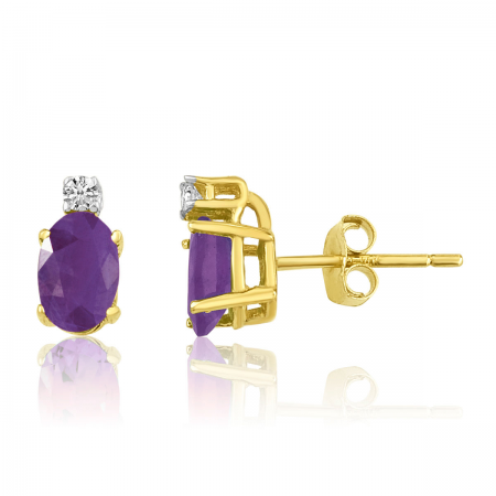 14K Yellow Gold Oval Amethyst & Diamond Earrings