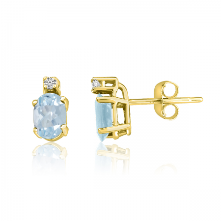 14K Yellow Gold Oval Aquamarine & Diamond Earrings