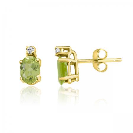 14K Yellow Gold Oval Peridot & Diamond Earrings
