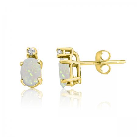 14K Yellow Gold Oval Opal & Diamond Earrings
