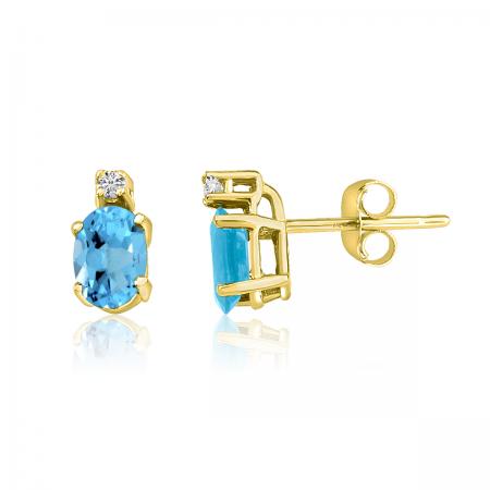 14K Yellow Gold Oval Blue Topaz & Diamond Earrings