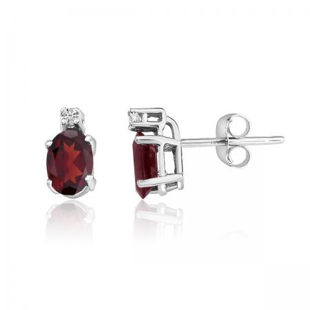 14K White Gold Oval Garnet & Diamond Earrings