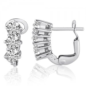 14K White Gold Three Stone 1 Ct Diamond Omega Earrings