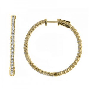14K 1.52ct Yellow Gold Diamond Secure Lock 35 mm Hoop Earrings