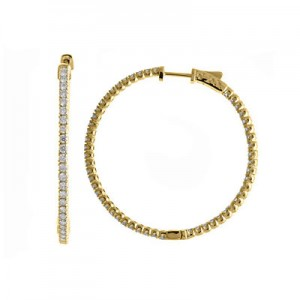 14K 2ct Yellow Gold Diamond Secure Lock 43 mm Hoop Earrings