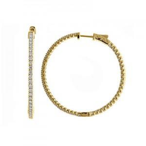 14K 2ct Yellow Gold Diamond Secure Lock 43 mm Hoop Earrings