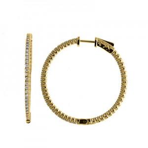 14K 1ct Yellow Gold Diamond Secure Lock 35 mm Hoop Earrings