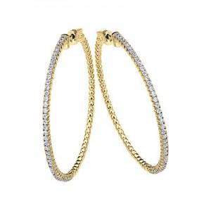 14K 1.2ct Yellow Gold Diamond Secure Lock 50 mm Hoop Earrings