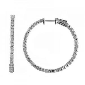 14K 3ct White Gold Diamond Secure Lock 35 mm Hoop Earrings
