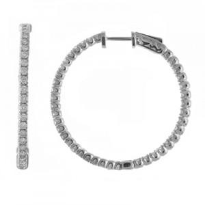 14K 4ct Yellow Gold Diamond Secure Lock 35 mm Hoop Earrings