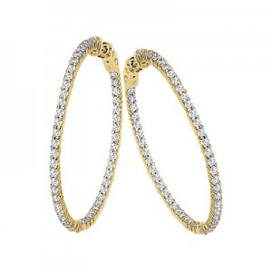 14K 3ct Yellow Gold Diamond Secure Lock 35 mm Hoop Earrings