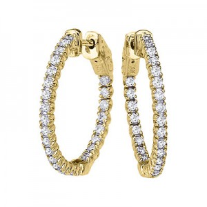 14K 1ct Yellow Gold Diamond Secure Lock 24 mm Hoop Earrings