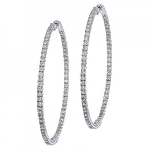 14K White Gold Secure Lock 4.14 Ct Diamond 55 mm Hoop Earrings