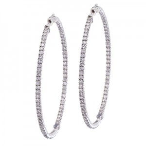 14K White Gold Secure Lock 3 Ct Diamond 55 mm Hoop Earrings