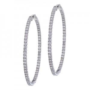 14K White Gold Secure Lock 6.2 Ct Diamond 55 mm Hoop Earrings