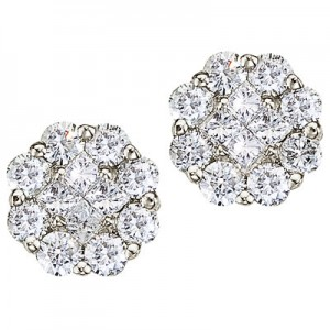 14K White Gold 0.50 Ct Diamond Clustaire Earrings