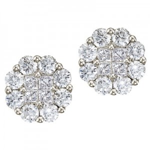 14K White Gold Diamond Clustaire Earrings