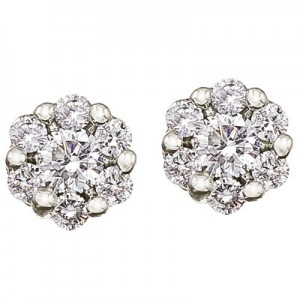 14K White Gold .50 Ct Cluster Diamond Earrings