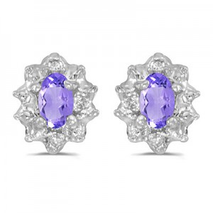 14k White Gold Oval Tanzanite And Diamond Earrings