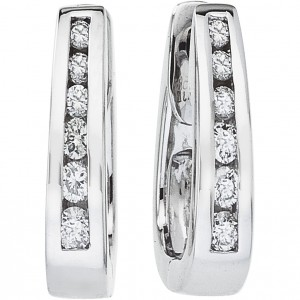 14k White Gold Secure Lock Square Hoops